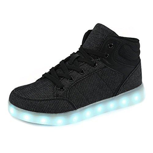 ende Blinkschuhe Turnschuhe Farbe USB Aufladen LED Licht Kinderschuhe Sportschuhe Hoch Oben Lässige Mode Sneakers für Jungen Mädchen(schwarz,31) ()