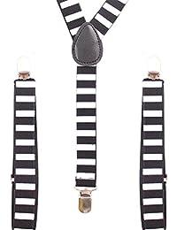 Accessoryo - Hommes élastiquée et réglable noir et blanc rayé bretelles pantalon