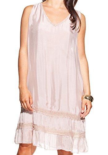 Laura Moretti - Robe en soie avec encolure en V et des bandes de tissu brillant Rose