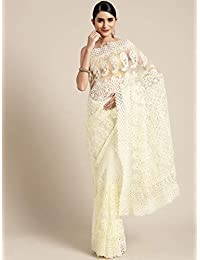 Womanista net with blouse piece Saree (FS9933_ Off White_ Onesize)