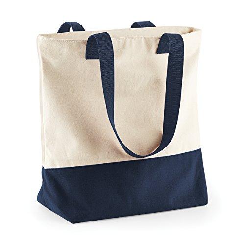 New Womens-Bagbase-Scomparto principale con cerniera, con borsa da trasporto con cinghia Natural/ French Navy