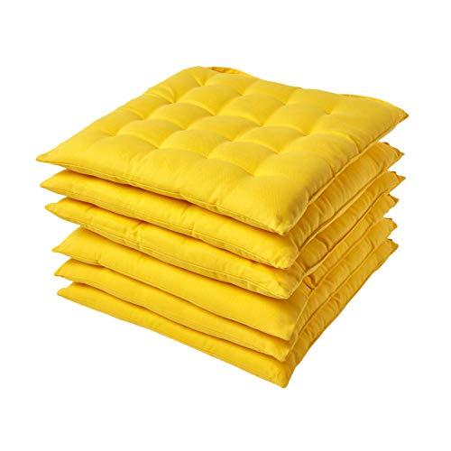 tuhlkissen 40 x 40 cm, einfarbige Stuhlauflage mit Bändern und Knopfverschluss und hautfreundlicher Bezug aus 100% Baumwolle mit weicher Polyester-Füllung, Gelb ()