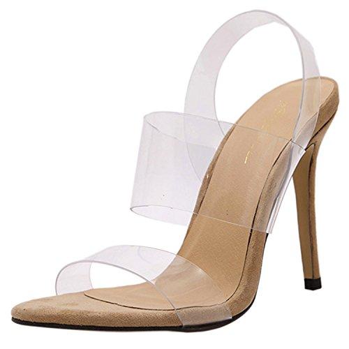 Senhoras Oasap Stiletto Aberta Slingback Transparente Sandálias De Damasco