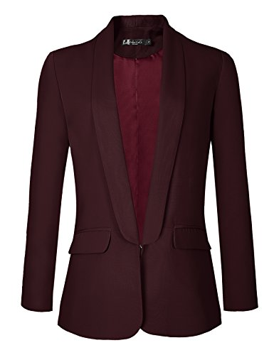 Urban GoCo Damen Blazer Business Büro Jäckchen (XL, Winerot)