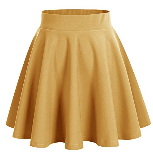 Dresstells Damen Basic Solide vielseitige Dehnbar Informell Mini Glocken Rock Turmeric