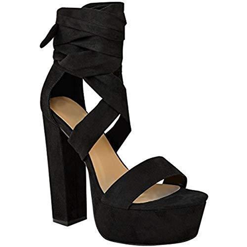 Fashion Thirsty Damen Riemen-Sandaletten IM Gladiator-Stil - Blockabsatz & Plateau - Schwarz Veloursleder-Imitat - EUR 39 -