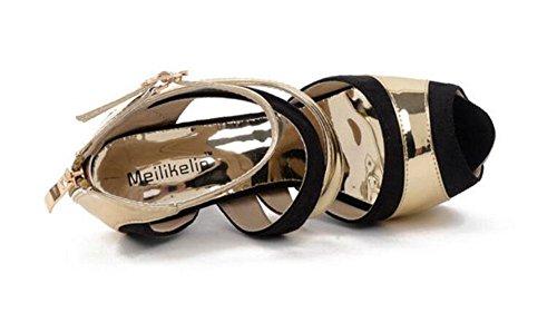 GLTER Donne Strap Corte caviglia scarpe estive di colore Lotta-tacco alto scarpe sandali piede era Sottile Scarpe a punta aperta Hollow Pompe Gold