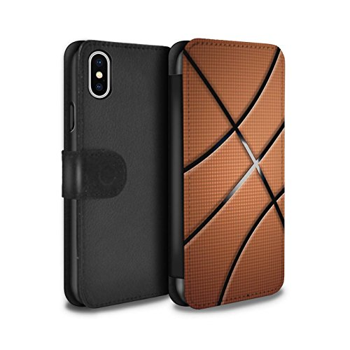 Stuff4® PU-Leder Hülle/Case/Tasche/Cover für Apple iPhone X/10 / Basketball Muster/Sport Bälle/Ball Kollektion