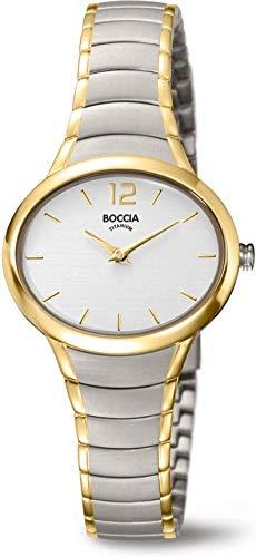 Boccia Damen Analog Quarz Uhr mit Titan Armband 3280-03