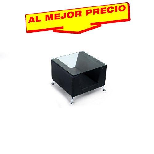 MESA AUXILIAR BAJA DE SALON CON CRISTAL Y TAPIZADO EN SEMILPIEL 60X60 CM MODELO GLASGOW COLOR NEGRO