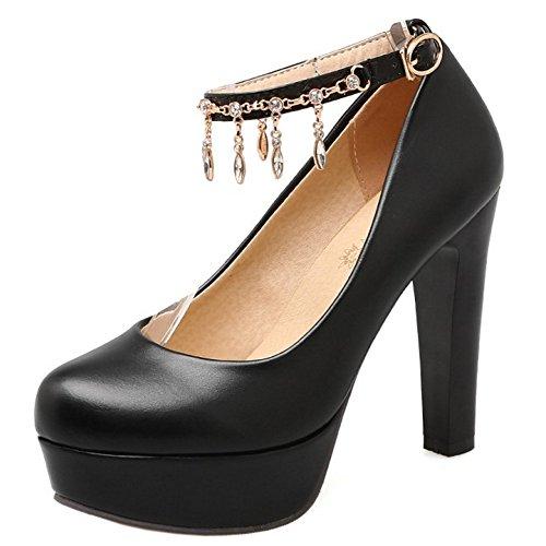 TAOFFEN Femmes Elegant Talons Hauts Escarpins Bloc Sangle De Cheville Soiree Chaussures De Boucle 733 Noir