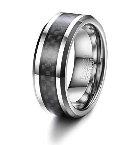 BE STEEL 8 MM Wolframcarbid Ringe Silber für Herren Männer Punk Tungsten Stahl Ring Biker Gothic Ring Band mit Schwarz Kohlefaser Inlay