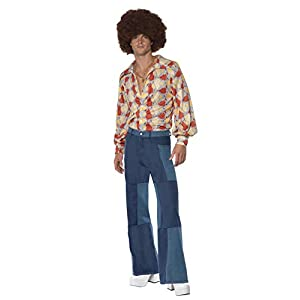 Smiffys 70s Deluxe Flared Trousers, Mens