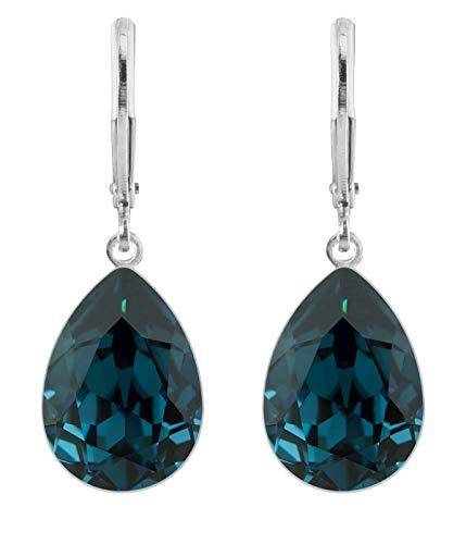 petra kupfer Damen Ohrringe Ohrhänger Tropfen Anhänger 1 Swarovski®-Kristall Dunkel Blau Montana Versilbert rdh1-montana - Kupfer-nacht-lichter
