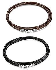 Idea Regalo - Sailimue 2 pezzi 2.5 mm collana in pelle per uomo donna intrecciata collana catena 71CM