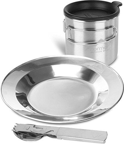normani Essbesteckset Essgeschirrset Essbesteck + Feldflasche 500 ml mit Klappgriffen + Trinkdeckel + Teller + Flaschenöffner und Dosenöffner