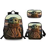 Baby Yoda Rucksack 3 Stücke Set Die Mandalorianischen Yoda Drucke Schulrucksack Bookbag Zaino casual Laptoptasche für Jungen Mädchen Erwachsene