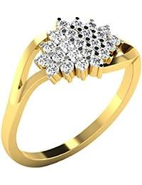 Silvernshine 0.35 Cts Round Cut Sim Diamond Wedding Cluster Ring In 14KT White Gold PL