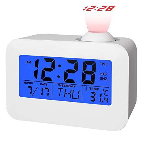 Digitaler LED-Wecker mit Projektor Funktion, Junnom Leiser Wecker / Uhr mit Hintergrundbeleuchtung mit Datums- & Temperaturanzeige, Projektion, Snooze Funktion, batteriebetrieben, Weiß