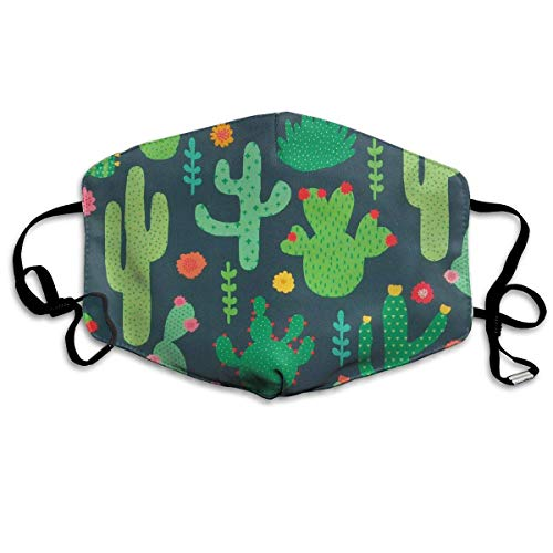 SDFDD Mouth Maske,Succulent Cactus Print Mouth Mask Unisex Dust Facemask Reusable Mask for Men and Women