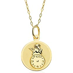 Medalla bebé reloj y angel de la guarda redonda oro amarillo 18 ktes 15mm con cadena 50cm GRABADA INCLUIDO