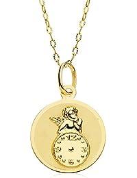 Medalla bebé reloj y angel de la guarda redonda oro amarillo 18 ktes 15mm con cadena