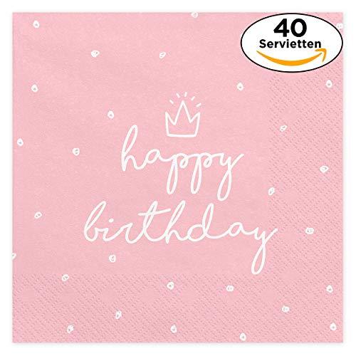 (iFancy Servietten Happy Birthday mit Prinzessinnen-Krone in Zartrosa (40 Stück) 33x33cm dreilagig - perfekt für eine schöne Geburtstags-Party - Papierservietten)