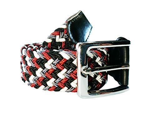 Cinturón trenzado elástico y extensible cinturones con hebilla para hombre y mujer multicolor (Multicolor 1, 115cm)