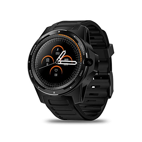 JS Pantalla Completa, Reloj Deportivo con Pantalla Redonda y cámara de 8MP, Sistema Dual GPS 1.39 \'\' 2GB + 16GB Monitor de Ritmo cardíaco Hombres Mujeres Smartwatch,Black
