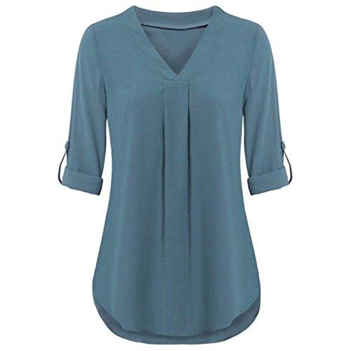 Yvelands Damen Oberteile Long Sleeve Roll-Up Top Casual V Neck Layered Shirt Blouses -