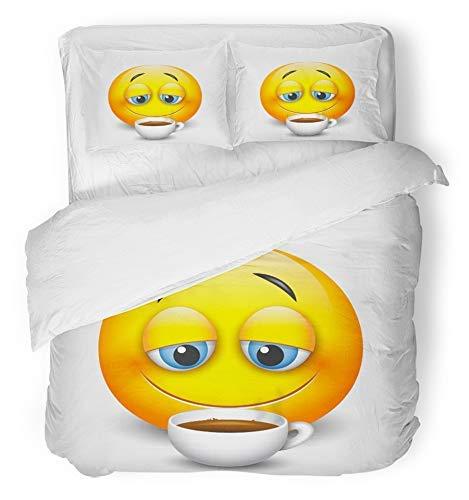 et atmungsaktiv gebürstetem Mikrofaser Stoff gelbe Tasse niedlich schläfrig Emoticon Kaffee Trinken Emoji Smiley Cartoon Gesicht Cafe Drink Bettwäsche Set mit 2 Kissenbezüge Full / ()