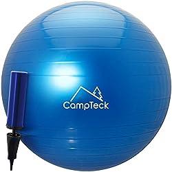 CampTeck U6764 Pelota Gimnasia 65cm con Bomba Mejorado de Mano Pelota de Ejercicio para Fitness, Yoga, Pilates, CrossFit, etc. - Adecuada para Hombres y Mujeres, Azul
