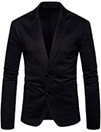 RONSHIN Men Casual Solid Color Slim Fit Formal Two Button Suit Coat Jacket Tops