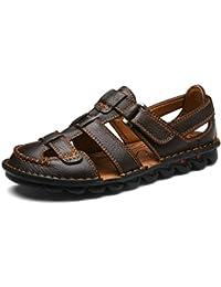 Yaer Hombres Sandalias de Cuero Zapatos de Playa Para los Hombres Con Velcro Zapatos de Verano Tamaño EU38-EU44(2 color)