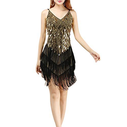 TENDYCOCO Latin Dance Kostüm Wettbewerbe Fringe Dress für Erwachsene Frauen (Für Erwachsenen Dance Kostüm)