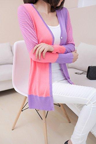 Smile YKK Femme Cardigan Tricot Manteau Pull Blouson Couleurs Mélange Slim Rose