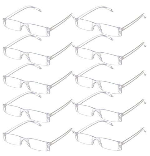 VEVESMUNDO Lesebrille Herren Damen Sehhilfe Transparente Gläser Brille 1.0 1.5 2.0 2.5 3.0 3.5 4.0 (10 Stück Transparente Gläser Brille, 1.0)