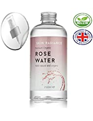 Purest Organic Rose Water 100% by Skin Radiance UK - HUGE BOTTLE 250ml!! Free Spray Nozzle Included! - Rose Water Spray For Face, Face Toner, Linen Spray - Produced Responsibly in UK.