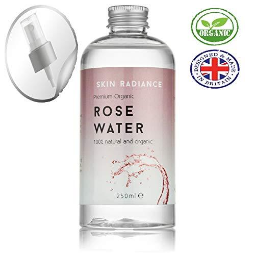 Eau de rose biologique 100% pure par Skin Radiance 250ml Vaporisateur d'eau de rose pour le visage, lotion tonifiante pour le visage, spray pour le linge - avec buse de pulvérisation gratuite incluse.