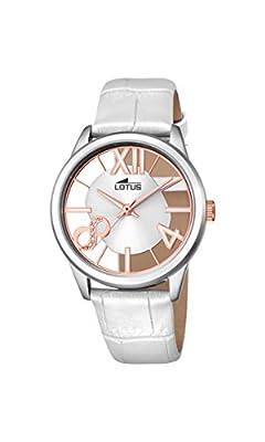 Lotus-Reloj de cuarzo para mujer con esfera analógica y correa de piel color blanco plata 18305/1