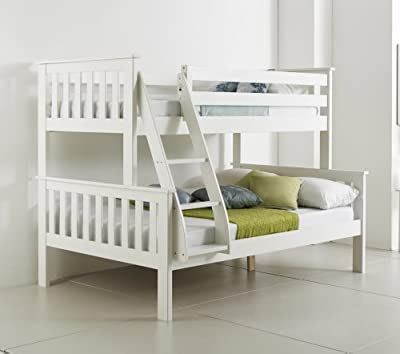 Happy Beds Bunk Bed Atlantis Pinewood White Triple Sleeper Quality Solid Pine Wood With 2x Luxury Spring Mattresses - cheap UK Bunkbed store.