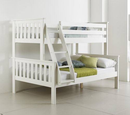 Happy beds bunk bed atlantis pinewood white triple sleeper for White bunk beds for sale