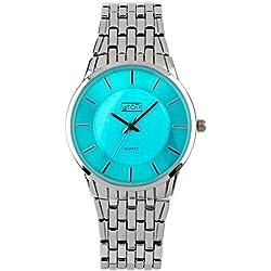 Eton Ladies Silvertone Aqua Dial, Bracelet Strap Dress Watch 3253L