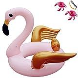 Riesigen Aufblasbaren Roségold Flamingo Pool Float Schwimmreifen Spielzeug Großer luftmatratze Aufblasbarer für Kinder und Erwachsene Entspannende 150 x 150 x 86cm (Roségold Flamingo) (Goldenen Flügeln Flamingo)