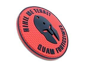 Patch Velcro Airsoft PVC Rouge Nihil Me Terret Quam Fortissimus Spartan