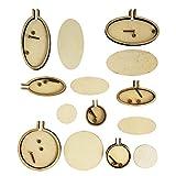 YXJD 7 Set Mini Stickrahmen Oval/Rund Stickringe Holzstickrahmen Zubehör Kreuzstich Hoop für DIY Deko Schmuckherstellung
