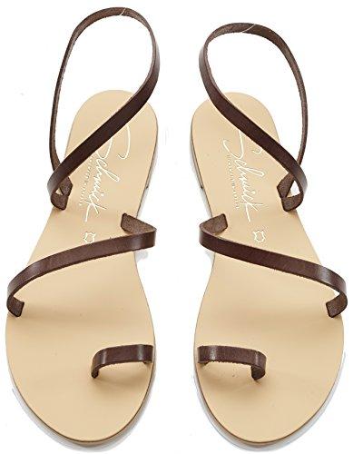Schmick Shoes Sandalen Hekate: Damen Leder Zehentrenner Sommerschuhe Riemchensandale Flacher Absatz Handgefertigt Größe:38, Farbe:Braun/Natural