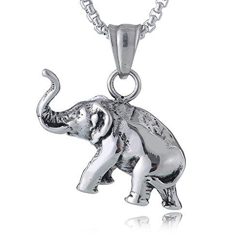 DonDon collar 52 cm con colgante elefante de buena suerte de acero inoxidable para hombres en bolsa de terciopelo