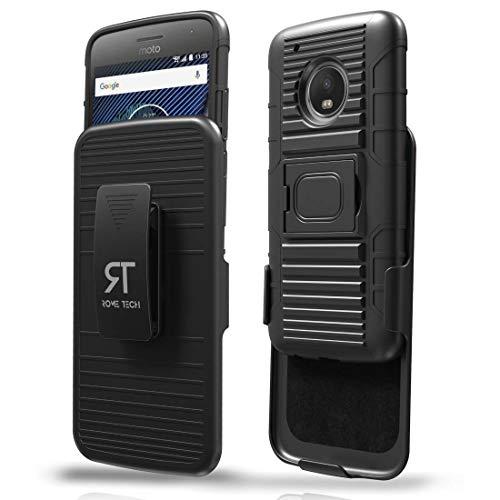 Moto G5Plus Fall, Rom Tech OEM Schutzhülle Slim Handy Case mit Ständer Clip Motorola Moto G5Plus-schwarz