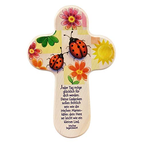 Croix chrétienne en bois pour chambre d'enfant avec motif coccinelles [Jouet]